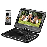 """UEME 9"""" Portable DVD Player CD Player with Car Headrest Mount Holder, Swivel Screen Remote Control Rechargeable Battery AC Adapter Car Charger, Mini DVD Player PD-0091 (Black)"""