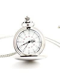 Pocket Watch Smooth Stainless Steel Case White Roman numerals red Arabic Numbers chain