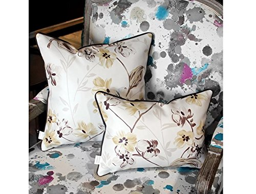 HYSENM 12x20 European Style Floral Patterns Leather Throw Pillow Sham Case Decorative Cushion Cover Home Sofa Bed Office Car Décor Easy to Clean, Brown 12''X20'' by Hysenm (Image #1)