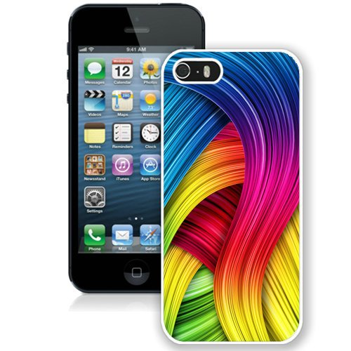 Coque,Fashion Coque iphone 5S Abstract Rainbows blanc Screen Cover Case Cover Fashion and Hot Sale Design
