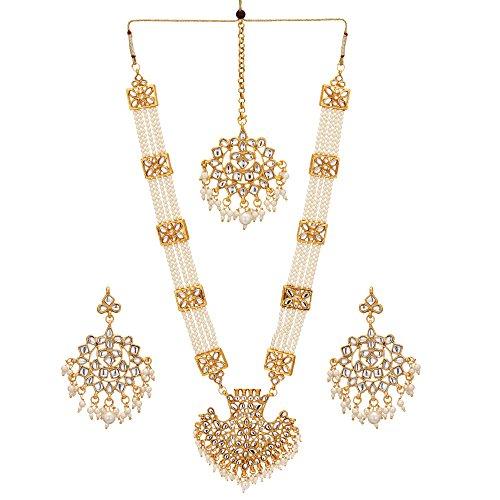 (Jwellmart Women's Diva Collection White Kundan Stone Faux Pearl Rani Haar Necklace Earrings Set)