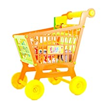 MonkeyJack Miniature Plastic Supermarket Shopping Hand Trolley Cart with Food Set Kid Pretend Play Role Play Toy