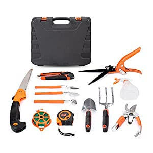 HOTPDR Garden Tool Set 12 PCS With Pruning Shears Folding Hand Saw Shovel Shears Etc