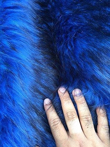 Royal Blue/black Husky Faux Fur,2 Tone Shaggy Fur. Sold By The Yard. 60