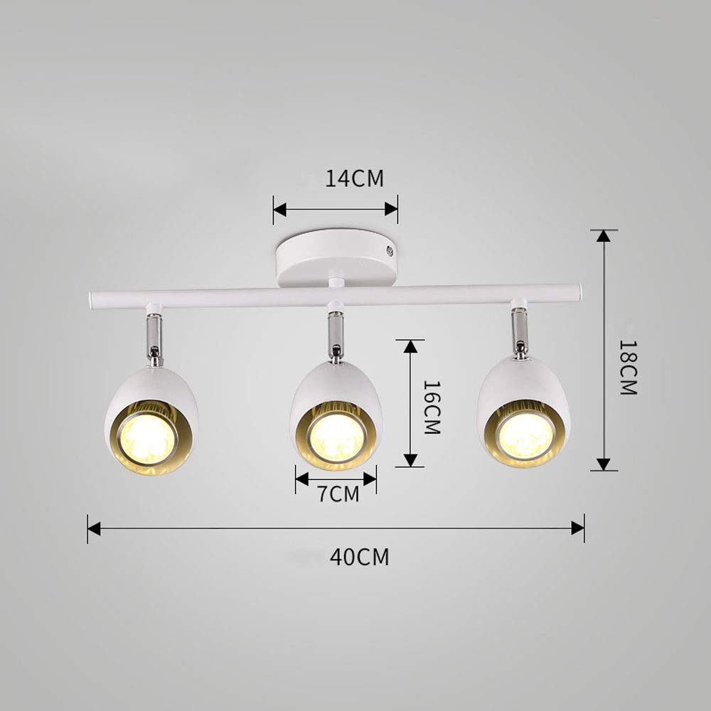 ZJⓇ Spotlight Track Light - Wall Chandelier - 2 Colors (Black/White) - 2 Sizes (40/50cm) && (Color : White, Size : 7cm in Diameter)