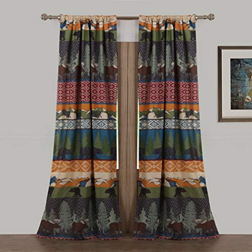 2 Piece 84 Inch Multi Color Black Bear Moose Lodge for sale  Delivered anywhere in USA
