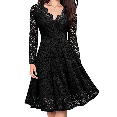 Toimothcn Women Lace Dress Long Sleeve V-Neck Formal Evening Party Swing Dress(Black,XXL) -