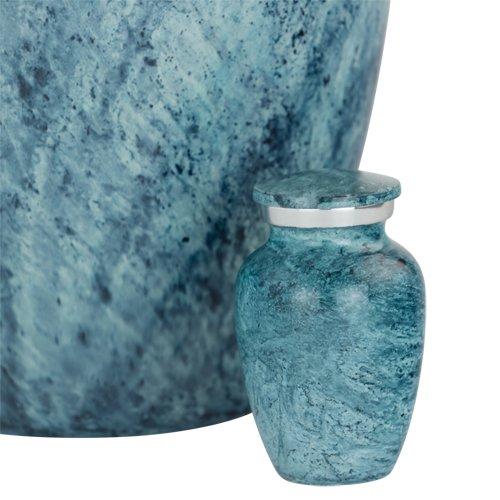 Silverlight Urns Aqua Harbor Keepsake Urn, Miniature Urn for Ashes, Tiny Aluminum Urn, 3 Inches Tall