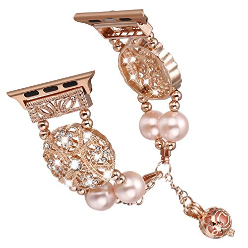 Brione Compatible with Apple Watch Band 38mm 40mm, Dressy Diamond Pearl Wristband iWatch Bracelet Series 4 3 2 1 Strap Cuff Adjustable Perfume Essential Oil Pendant for Women Ladies - Rose Gold