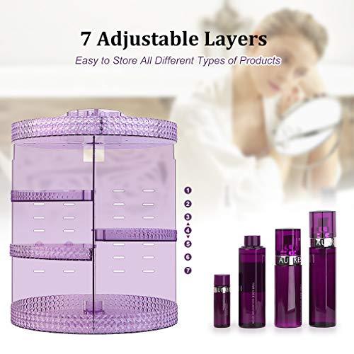 Awenia Makeup Organizer 360-Degree Rotating, Adjustable Makeup Storage, 7 Layers Large Capacity Cosmetic Storage Unit… 7