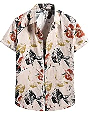 Zainafacai Mens Hawaiian Shirts Men's Casual Button-Down Short Sleeve Printed Shirts Summer Beach Tropical Hawaii Shirt Tops
