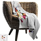 EwaskyOnline Winery Family Blanket Wine Glass with Colorful Imaginary Growing Leaves Aroma Sommelier Relax Joy Artsy car/Airplane Travel Throw 93' W x 71' L Multicolor