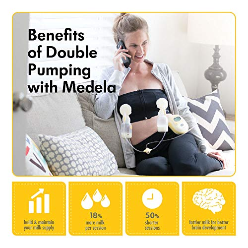 Medela Easy Expression Hands Free Pumping Bra, Black, Large, Comfortable and Adaptable with No-Slip Support for Easy Multitasking