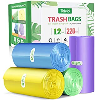 1.2 Gallon 220 Counts Strong Trash Bags Garbage Bags, Bathroom Trash Can Bin Liners, Small Plastic Bags for Home Office Kitchen, fit 5-6 Liter, 0.8-1.6 and 1-1.5 Gal, Multicolor