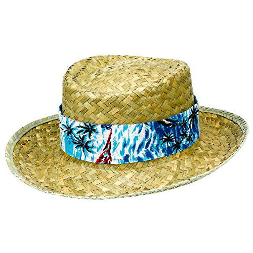 Amscan Floral Summer Straw Hat Hawaiian Beach Luau