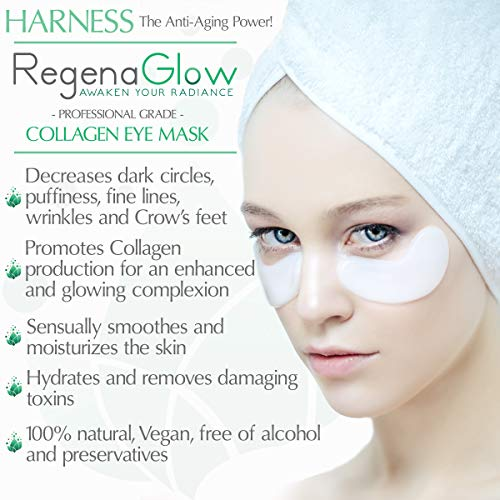 Anti Aging Collagen Eye Mask - 20 Pairs - Under Eye Treatment Pads with 24K Nano Gold Accelerator for Wrinkles, Dark Circles, Bags and Puffy Eyes - Professional Grade Moisturizing Patches by RegenaGlow (Image #1)