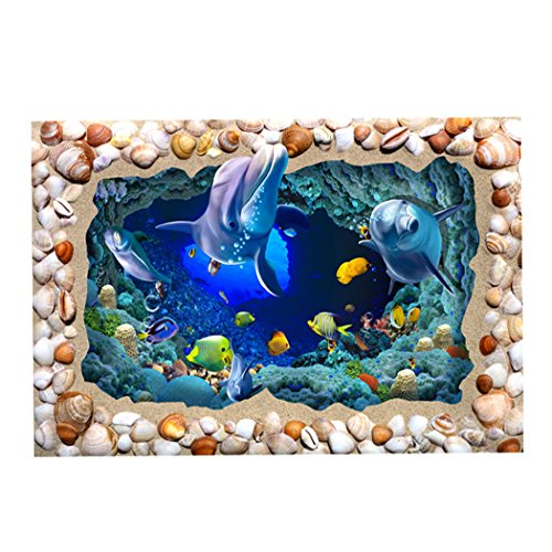 - Fantasy Star Aquarium Background Seabed Cave with Shell Dolphin Fish Coral Reef Easy to Apply and Remove Fish Tank Wallpaper Sticker Background Decoration 24