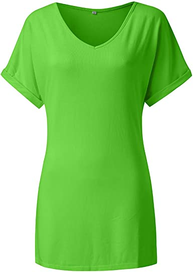 Ladies Baggy Oversize Fit V Neck Turn Up Sleeve Top Loose Batwing T-Shirt Top