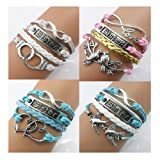 Twinkle Handmade Fashion Sister Charm for Friendship Gift Party Accessory Leather Bracelet (4 Pieces/lot)