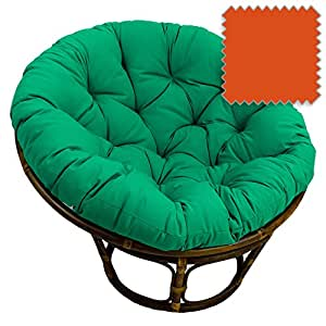 42-Inch Bali Rattan Papasan Chair with Cushion - Solid Twill Fabric, Tangerine Dream - DCG Stores Exclusive
