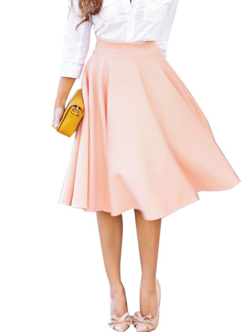 Clothink Women Peach Pink High Waist Midi Skater Skirt L