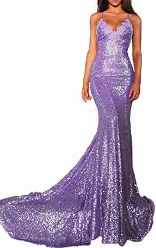 60cca54f882 Kittydress Womens Long Mermaid Sequin Prom Dresses Strapy V-Neck Evening  Homecoming Party Gowns with