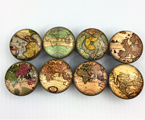 Set of 8 Old World Maps Cabinet Knobs (Set 1) (Map Drawer Pulls)