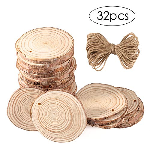 CrazyFire Natural Wood Slices 32 Pcs  2.4