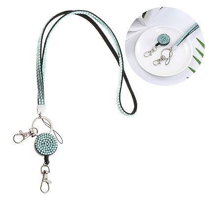 Cuerda colgante para teléfono móvil, tarjeta de identificación, soporte para llaves, correa de cuello retráctil con diamantes de imitación para mujer, ...