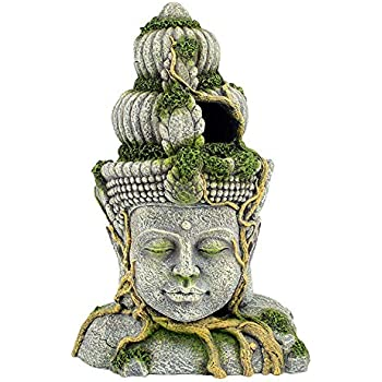 Exotic Environments Statue with Moss Aquarium Decorations Buddha Head Ornament for Fish Tank
