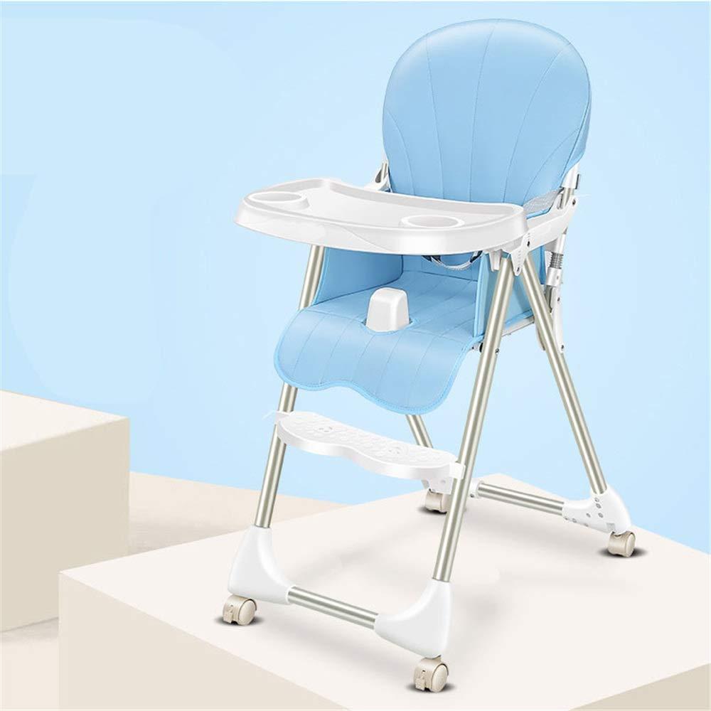 完璧な調節可能なベビーハイチェア 子供の世話をするのに良いアシスタントベビーブースターシートハイチェアポータブルキッズディナーチェアートレイ給餌プレートテーブル滑り止め金庫快適で調節可能な高さ折りたたみ式給餌赤ちゃん用幼児子供 (色 : 青)  青 B07R2JNY5P
