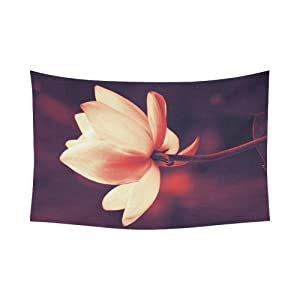 Unique Debora Custom Wall Tapestry Lotus Flower 60x51 Inch Cotton Linen Tapestry Wall Hanging Art 60WD63