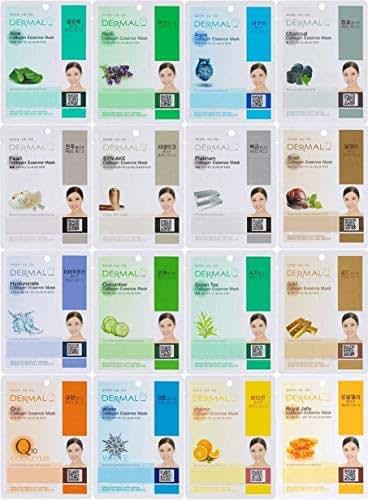 Dermal Korea Collagen Essence Full Face Facial Mask Sheet (16 Count (Pack of 2), Set A 16 Colors)