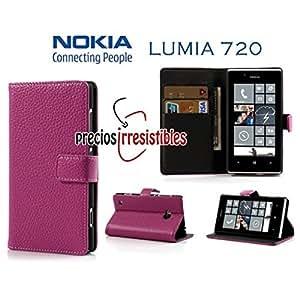 Funda Nokia Lumia 720 Piel Tapa Libro LITCHI Rosa