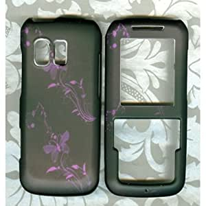 Purple Butterfly Rubberized Samsung SCH R451c(TracFone)Straight Talk phone cover