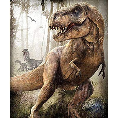 Paint by Number Kits - Forest Dinosaurs 16x20 Inch Linen Canvas Paintworks - Digital Oil Painting Canvas Kits for Adults Children Kids Decorations Gifts (No Frame): Toys & Games