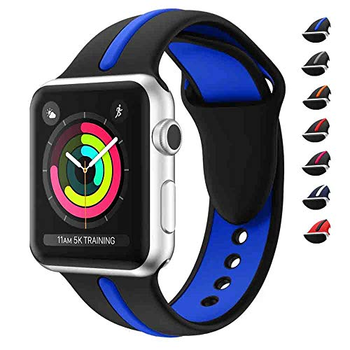 WHLIHUSU Thin Blue Line Sport Band Compatible for Apple Watch 42mm/44mm, Soft Silicone Sport Strap Replacement iWatch Bands Compatible Apple Watch Wristbands Series 4 3 2 1 Nike+ (M/L,Black & Blue)