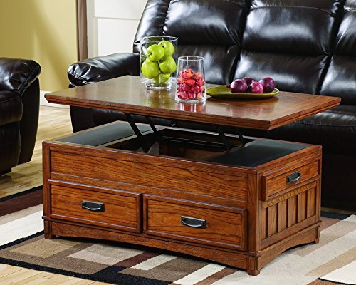 Ashley Furniture Signature Design - Cross Island Coffee Table with Storage - Cocktail Height - Rectangular - Medium Brown