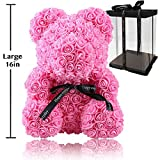 Rose Flower Bear - Fully Assembled 16 inch Hugz Teddy Bear - Over 20 Dozen Artificial Flowers - Best Gift for Valentines Day, Anniversary, Birthdays & Bridal Showers (Pink) - w/Clear Gift Box