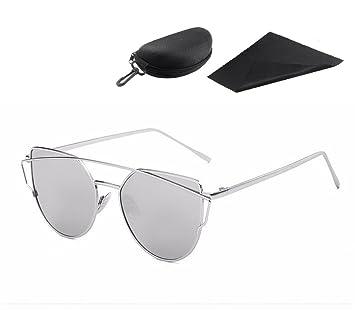 Gafas de Sol Cateye con viajes portátiles Zipper funda de los vidrios para mujeres, Pawaca