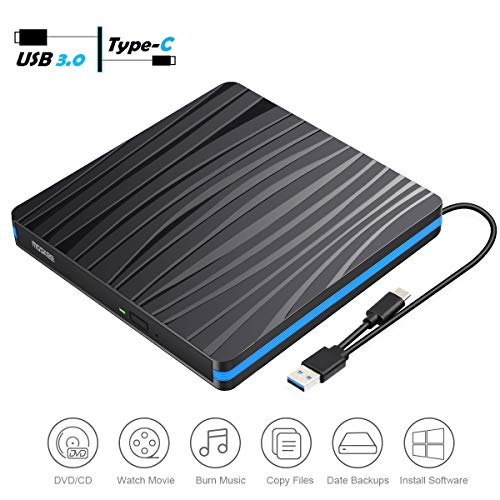 External DVD Drive, MosKee USB 3.0 USB-C Portable VCD/CD/DVD Optical Drive CD/VCD Rewriter Burner Writer Plug and Play for CD/DVD+/-RW etc DVD Drive for Laptop/Macbook/iMac/Destop/Windows/Linux/Mac OS