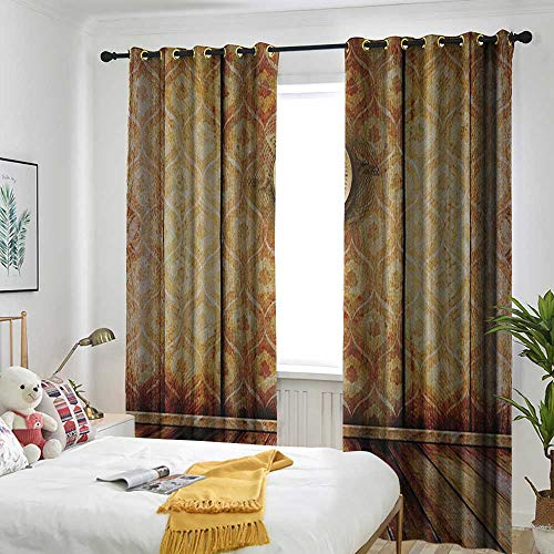 (Bedroom Curtains Curtain 2 Panel Combination Set Victorian,Antique Clock on Medieval Style Wall Wooden Floor Classic Architecture Theme Art Beige Brown)