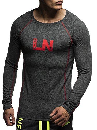 LEIF NELSON GYM Herren Fitness Sweatshirt T-Shirt Rundhals Langarm Trainingsshirt Training LN06303; Grš§e M, Anthrazit-Rot
