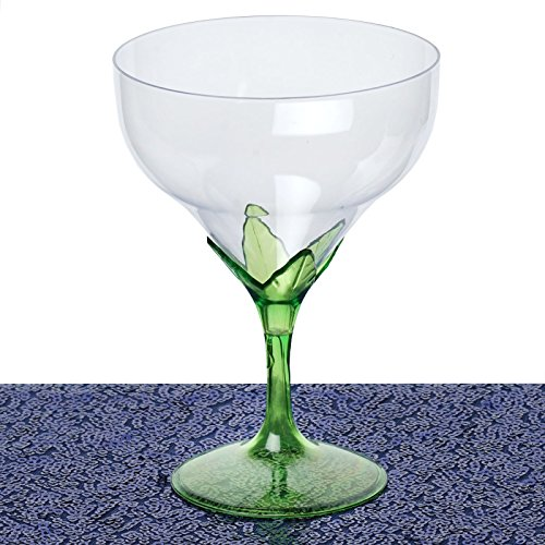 Efavormart Disposable Clear Plastic Champagne Goblet, 6-Inch, 6oz, Green, 30 Pcs
