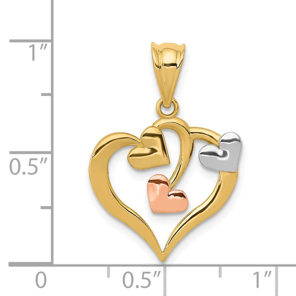 14K White Gold /& Yellow Gold Hearts Pendant Solid 16 mm 23 mm Themed Pendants /& Charms Jewelry