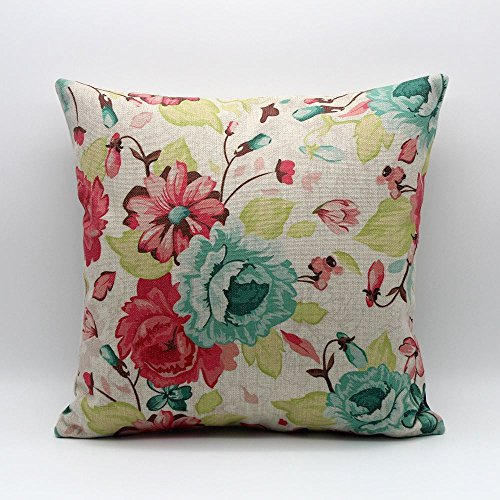 Vintage Green Pink Flowers Floral Throw Pillow Case Decor Cushion Cover 45*45cm