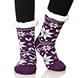 Dosoni Women's Fleece Lining Fuzzy Soft Christmas Knee Highs Stockings Slipper Socks (Snowflake Purple)