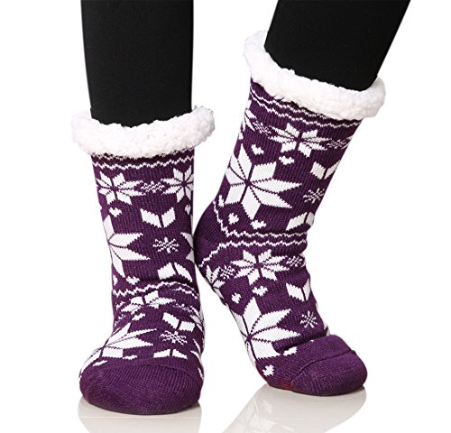Dosoni Women's Fleece Lining Fuzzy Soft Christmas Knee Highs Stockings Slipper Socks (Snowflake Purple) (Lined Size Stockings Plus)