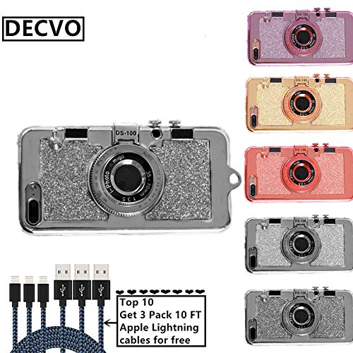- DECVO iPhone 7 Plus Case iPhone 8 Plus Case, New Modern 3D Cool Vintage Style Bling Camera Design Soft Case PC + Silicone Cover with A Mirror & Long Strap Rope for 5.5
