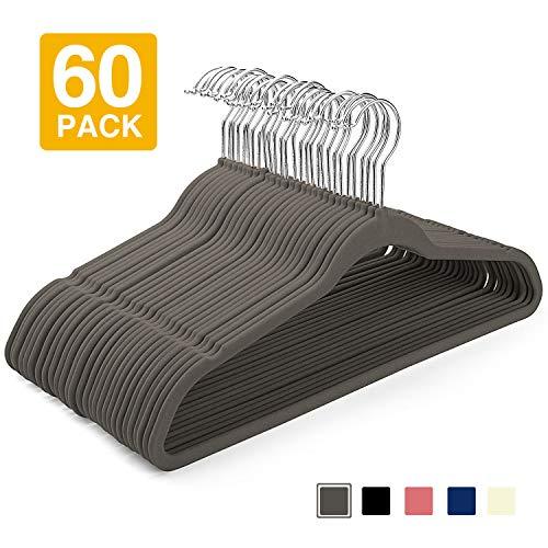 HOUSE DAY Velvet Hangers (60 Pcs) Heavy Duty Hangers Non Slip Velvet Suit Hangers Grey Ultra Thin Standard Velvet Hangers Space Saving Clothes Hangers,Grey (Plastic Hangers 60)